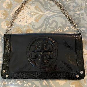 Tory Burch Reva black patent leather handbag